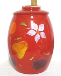Gay Fad/Bartlette Collins Fired-on Red w Fruit & Flowers Regular Cookie Jar - Product Image