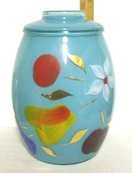 Gay Fad/Bartlette Collins Fired-on Turquoise w Fruit & Flowers Regular Cookie Jar - Product Image