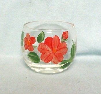 "Gay Fad/Bartlette Collins Roly Poly Red Flowered 2 3/4"" Juice Glass - Product Image"