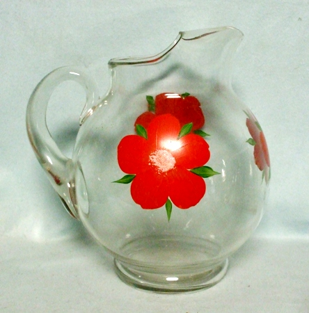 "Gay Fad/Macbeth-Evans Corning Red Flowered Upright Ball 9""Pitcher - Product Image"