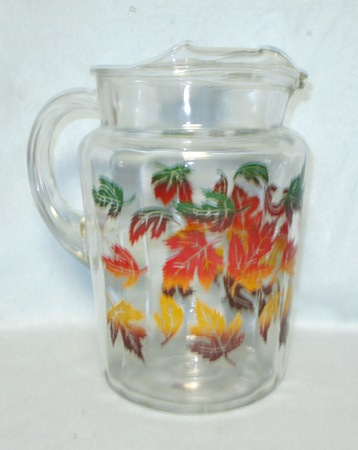 H.A. Clear w Maple Leaves Pitcher w Ice Lip - Product Image