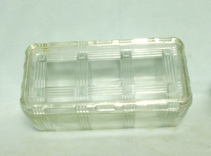 H.A. Criss Cross Clear Large Refrigerator Dish w Lid - Product Image