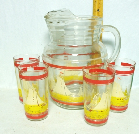 H.A. Red & Yellow Sailing Pitcher w Ice Lip - Product Image