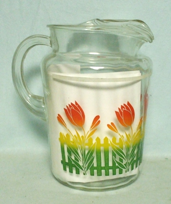 H.A. Red Tulip On Picket Fence Pitcher w Ice Lip - Product Image