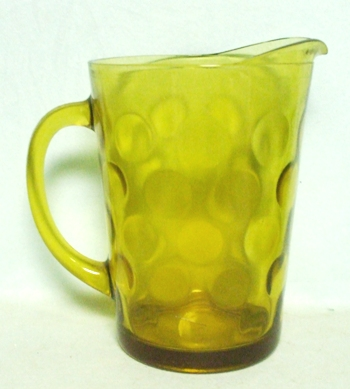 Hazel Atlas Amber Dots Squat Pitcher no Ice Lip - Product Image