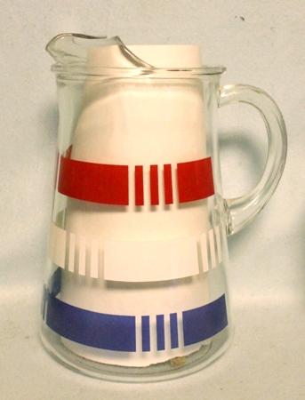 Hazel Atlas Blue,White, & Red Band Pitcher w Ice Lip - Product Image