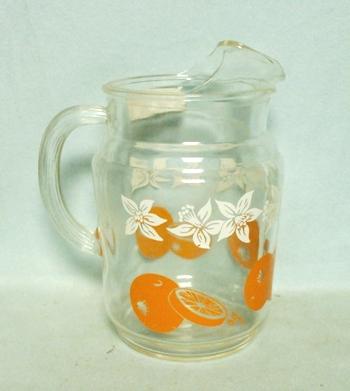 Hazel Atlas Cherries w Leaves Juice Paneled Pitcher w Ice Lip - Product Image