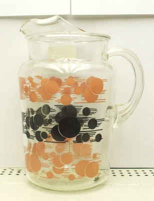Hazel Atlas Deco Pink & Black Bubbles Pitcher w Ice Lip - Product Image