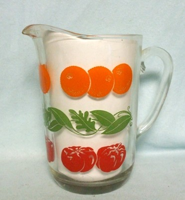 Hazel Atlas Oranges & Tomatoes w Leaves Juice Paneled Pitcher w Ice Lip - Product Image