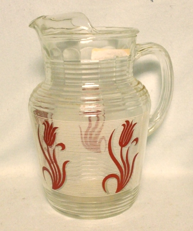 Hazel Atlas Red Tulip  on White Band Pitcher w Ice Lip - Product Image