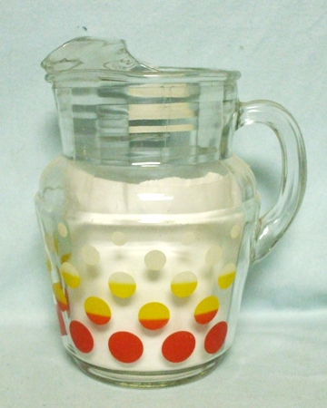 Hazel Atlas Red,Yellow and White Polk-a-Dot Pitcher w Ice Lip - Product Image