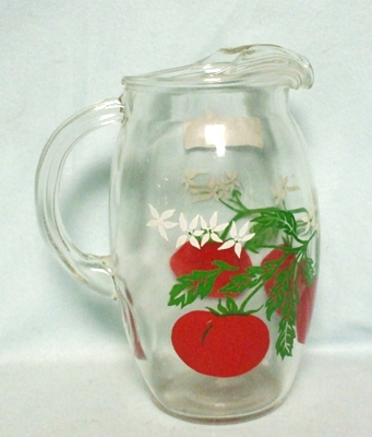 Hazel Atlas Tomato w Leaves & Blossoms Juice Pitcher w Ice Lip - Product Image