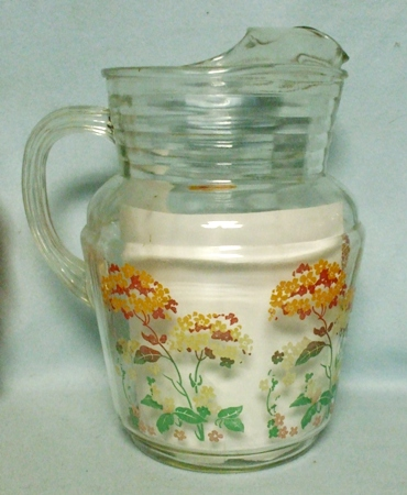 Hazel Atlas Wild Flowers & Leaves Pitcher w Ice Lip - Product Image