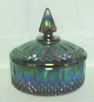 Indiana Glass Blue Carnival Candy Dish and Lid - Product Image