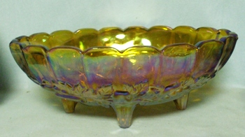 Indiana Glass Harvest Pattern Amber Carnival Fruit Bowl - Product Image