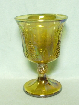 Indiana Glass Harvest Pattern Amber Carnival Goblet - Product Image
