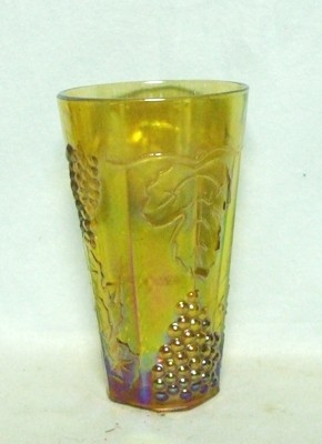 Indiana Glass Harvest Pattern Amber Carnival Iced Tea Tumbler - Product Image