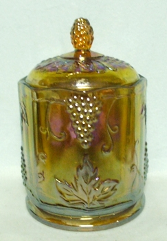Indiana Glass Harvest Pattern Amber Carnival Med. Canister - Product Image