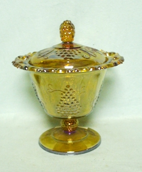 Indiana Glass Harvest Pattern Amber Carnival Small Compote & Lid - Product Image