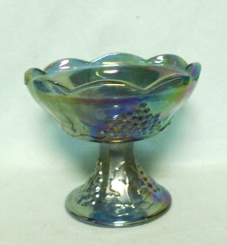 Indiana Glass Harvest Pattern Blue Carnival Candle Holder - Product Image