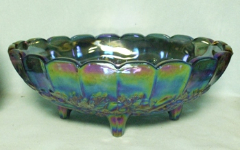 Indiana Glass Harvest Pattern Blue Carnival Fruit Bowl - Product Image