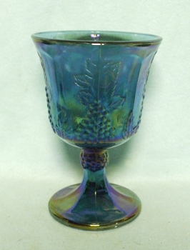Indiana Glass Harvest Pattern Blue Carnival Goblet - Product Image