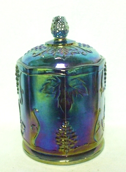 Indiana Glass Harvest Pattern Blue Carnival Med. Canister - Product Image