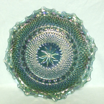 Indiana Glass Harvest Pattern Blue Carnival Ruffled Tray - Product Image