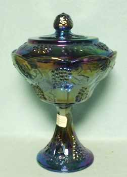 Indiana Glass Harvest Pattern Blue Carnival Small Compote & Lid - Product Image