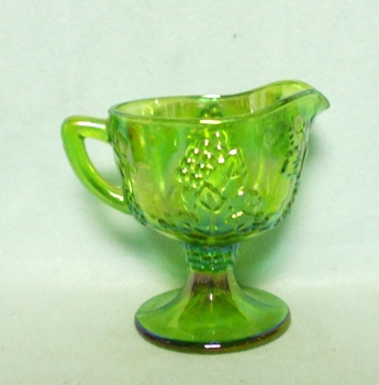 Indiana Glass Harvest Pattern Lime Green Carnival Creamer - Product Image