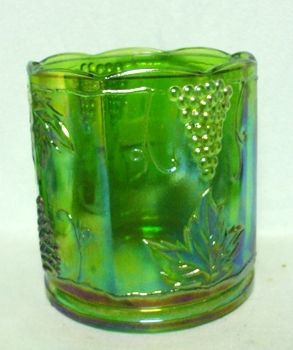 Indiana Glass Harvest Pattern Lime Green Carnival Large Canister - Product Image