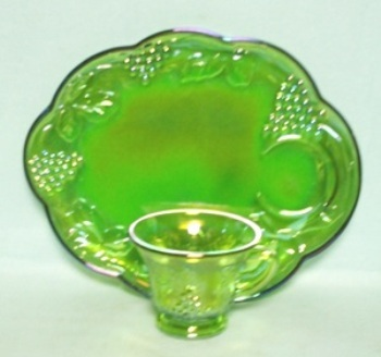 Indiana Glass Harvest Pattern Lime Green Carnival Snack Set - Product Image