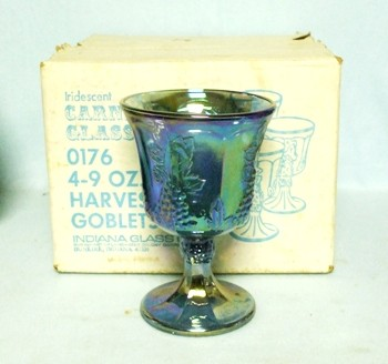 Indiana Glass Harvest Pattern Set of 4 Blue Carnival Goblets MIB - Product Image
