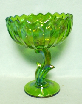 Indiana Glass Lime Green Carnival Small Compote - Product Image