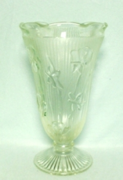 "Iris & Herringbone Clear 9"" Footed Vase. - Product Image"