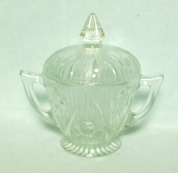 Iris & Herringbone Clear Footed Sugar w Lid - Product Image