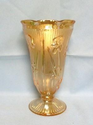 "Iris & Herringbone Iridescent 9"" Footed Vase. - Product Image"
