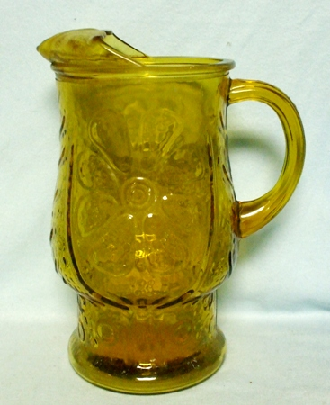 Libbey Country Garden Daisy Amber Glass Pitcher w Ice Lip - Product Image