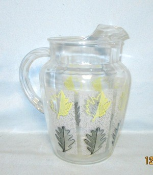 Libbey Pitcher  with Yellow and Black Oak Leaves w Ice Lip - Product Image