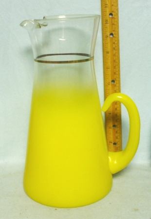 Mountaineer Glass Yellow Frosted Pitcher w Ice Lip - Product Image