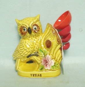 Owl Ceramic Measuring Spoon Holder W Red Plastic Spoons - Product Image