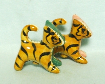 Patch Work Quilt Tiger Cats Salt & Pepper Set - Product Image