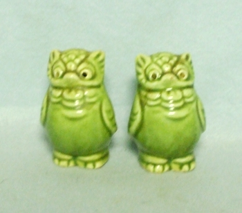 Small Green Owl w Holes for Eyes Salt & Pepper - Product Image