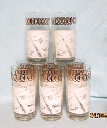 "Sonic Spaceships w Gold Circles 5 1/2"" Tumbler Set of 8 - Product Image"