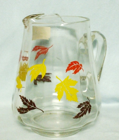 Squat Pitcher w Red,Yellow, & Brown Maple leaves & Ice Lip - Product Image