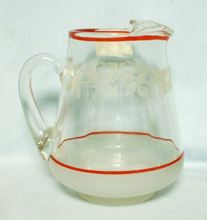 Squat Red Banded Etched Grape Pitcher w Ice Lip - Product Image