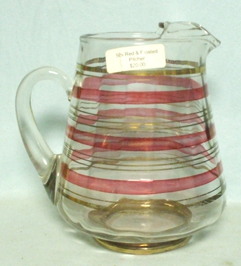 Unknown Cranberry & Gold Striped Squat Pitcher w Ice Lip - Product Image