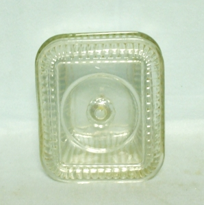 Vintage Clear Ribbed Small Refrigerator Dish w Lid - Product Image