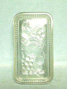 Vintage Clear Ribbed w Fruit Large Refrigerator Dish w Lid - Product Image