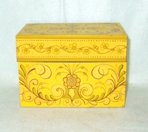 Vintage Metal Yellow Designs Kitchen Recipes Box - Product Image